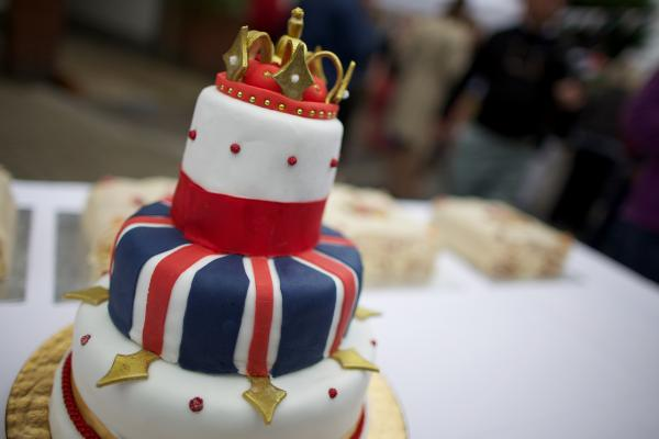 A royal-themed cake which will be served during a street party in south London on Saturday.