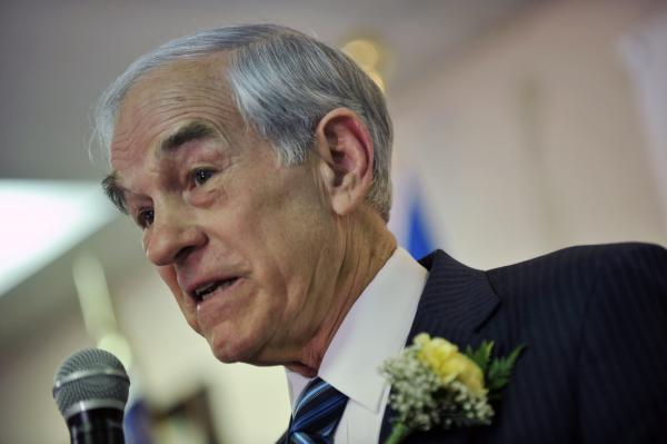 Republican presidential hopeful Ron Paul speaks in this February file photo during an event celebrating Filipino veterans at the Leatherneck Club in Las Vegas, Nevada.