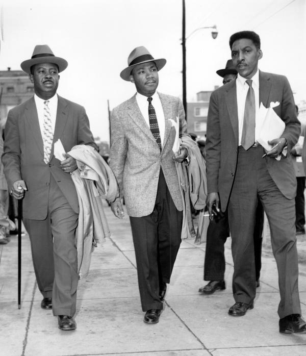 The Rev. Ralph Abernathy (from left), the Rev. Dr. Martin Luther King Jr. and Bayard Rustin leave the Montgomery (Ala.) County Courthouse in 1956. Rustin, who was gay, was the main organizer of the 1963 March on Washington.