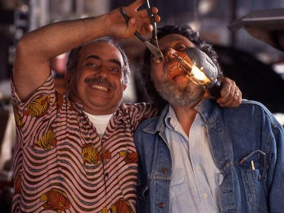 Ray, left, doing some dental work on Tom.