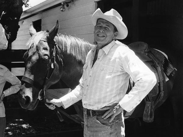 Ronald Reagan poses with his horse at his ranch, Rancho del Cielo, near Santa Barbara, Calif., in 1976.