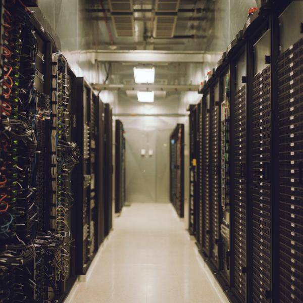 "Nick Easley of the Union Station Technology Center calls this room full of servers at the center ""the cloud."""