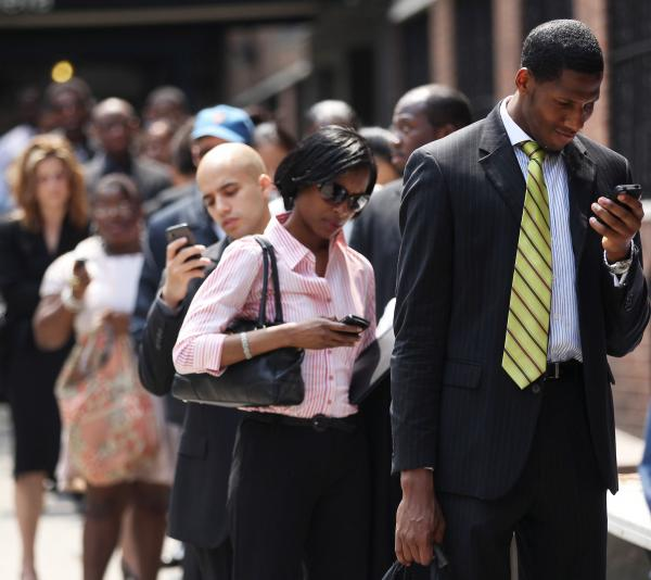 The line at a job fair in New York City last month.