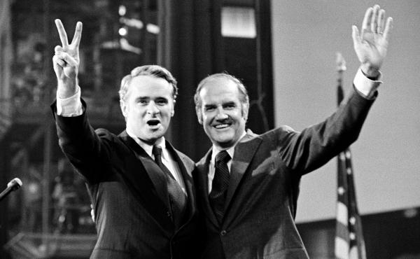 Sens. Thomas Eagleton (left) and George McGovern celebrate their candidacy for vice president and president, respectively, at the Democratic National Convention in 1972.