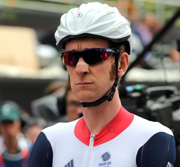 Bradley Wiggins of Great Britain before a road race on Day 1 of the Olympics.