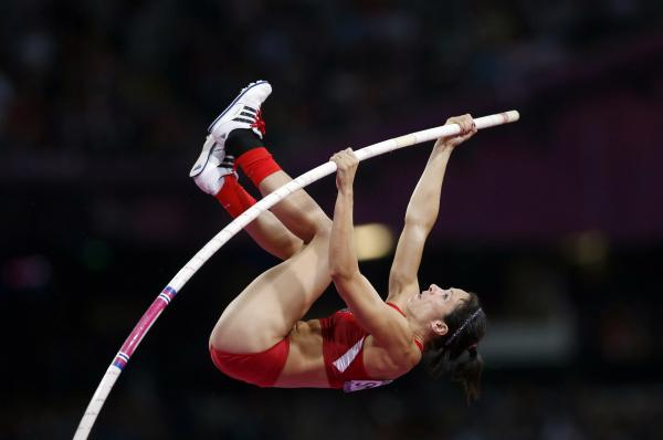 Jennifer Suhr of the U.S. competes in the women's pole vault final. She placed first in the event.