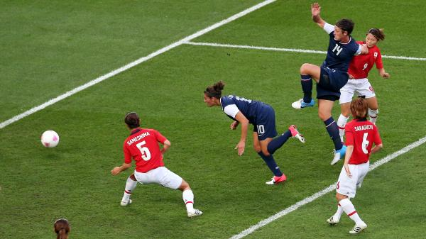 American Carli Lloyd heads in a goal in the first half to put the U.S. up 1-0 against Japan in the Olympic gold medal match.