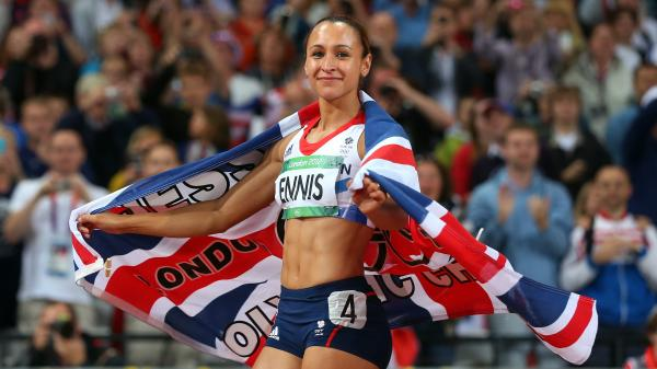 Jessica Ennis of Great Britain celebrates winning gold in the heptathlon at the London 2012 Olympic Games.