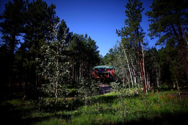 A view of a private home in the Jemez Mountains.