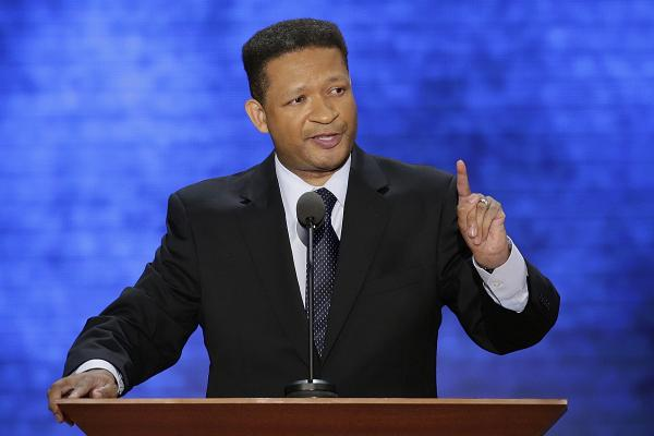 """Former Rep. Artur Davis addresses the crowd. Davis was until recently a Democratic congressmen. """"Some of you may know,"""" he said, """"the last time I spoke at a convention, it turned out I was in the wrong place."""""""