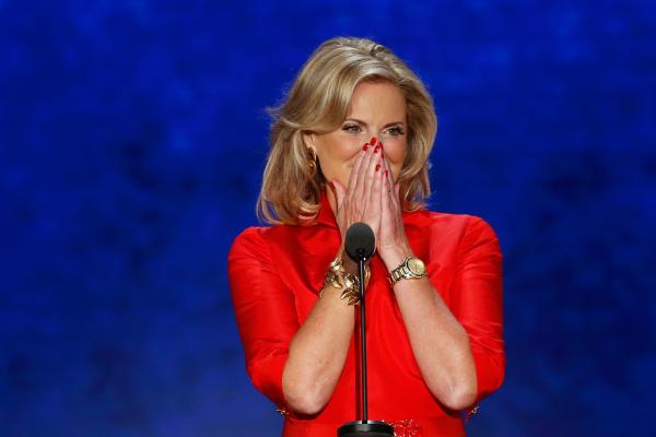 Ann Romney, wife of Mitt, reacts as she takes the stage to address delegates during tthe Republican National Convention in Tampa, Fla.