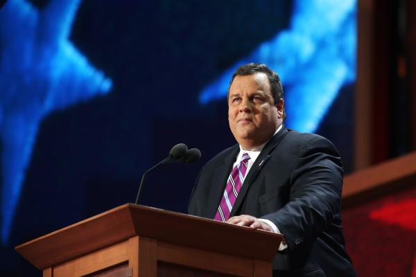 "New Jersey Gov. Chris Christie delivers the keynote address during the convention. ""There's only one thing missing now,"" says New Jersey Gov. Chris Christie. ""Leadership. It takes leadership that you don't get from reading a poll. You see, Mr. President – real leaders don't follow polls. Real leaders change polls."""