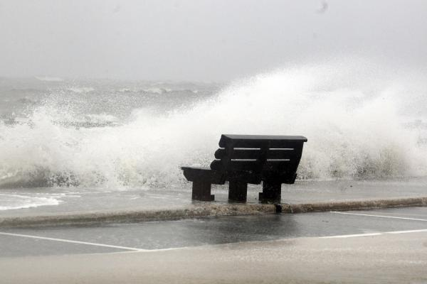 Waves from Hurricane Isaac batter a pier in Gulfport, Miss.