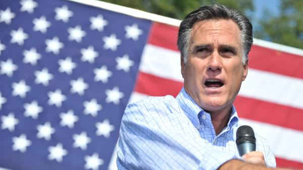Mitt Romney speaks at a campaign rally Thursday in Fairfax, Va.