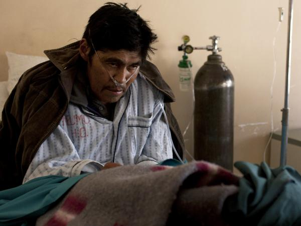 Saturnino Soncko is 58, but the fine deadly dust he inhaled while working in the silver mines of Cerro Rico has left him an invalid, gasping for breath in the pulmonary wing of a public hospital in Potosi, Bolivia.
