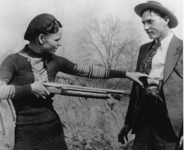 Bonnie Parker and Clyde Barrow are seen in an undated photo. The couple captured headlines with a long crime spree before being shot to death in an ambush in Louisiana.