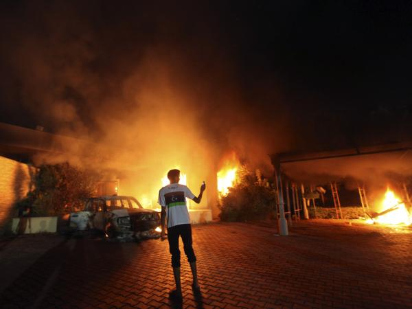 Sept. 11, 2012: A blaze erupted during the attack on the U.S. consulate in Benghazi, Libya.