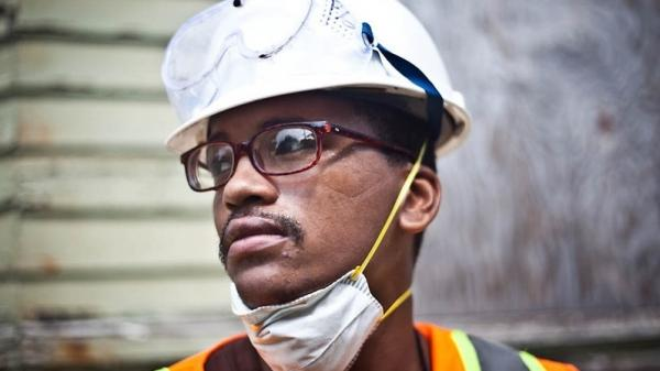 Bernard Goutier, 25, has served time in prison twice. He's now learning construction skills with Emerge Connecticut, which offers paid on-the-job training, literacy classes and support groups to ex-offenders.