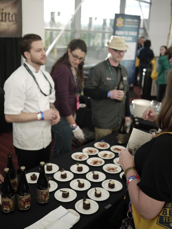 In the Food to Table section, Jester King Weasel Rodeo, an ale made with brewer Mikkeller, was paired with sticky chocolate cake, malt cremeux, chocolate bark, and candied bacon, by chef Kyle Mendenhall of The Kitchen.