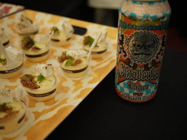 The Sun King Oktoberfest beer was paired with butternut squash mousse, sesame beer brittle, and toasted celery marshmallow, by chef Daniel Asher of Root Down/Linger.