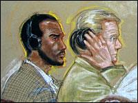 Salim Ahmed Hamdan, with his attorney, in a courtroom sketch from 2007.