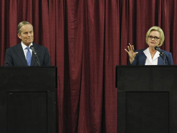 Missouri Senate candidates Republican Todd Akin and incumbent Democratic Sen. Claire McCaskill debate in Columbia, Mo., on Sept. 21.