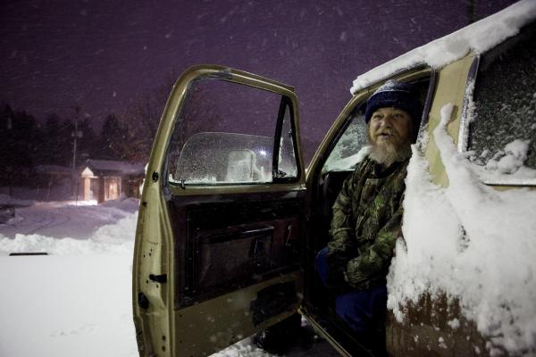 Dwaine Cockerell drove up from Louisville, Ky., to see the snow.