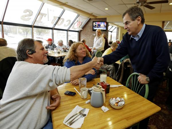 Republican Richard Mourdock, candidate for Indiana's U.S. Senate seat (right) meets Mike Nestor and LoRita Stofleth at Blueberry Hill Pancake House Saturday in Indianapolis.