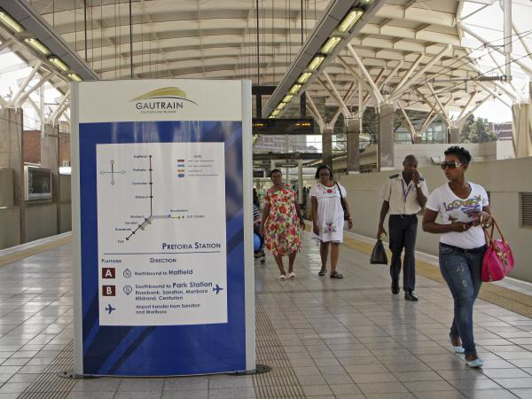 Despite some people's grumbling about ticket prices, the Gautrain is operating at full capacity during peak hours. Passengers praise the cleanliness of the trains as well as the speed. Here is the Gautrain station in Pretoria, South Africa's capital.