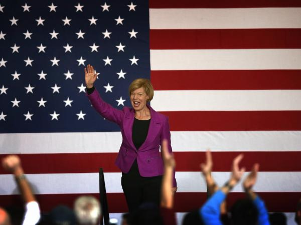 Rep. Tammy Baldwin greets supporters at a campaign rally for President Obama in Milwaukee on Saturday. Baldwin defeated former Wisconsin Gov. Tommy Thompson for a U.S. Senate in Wisconsin.