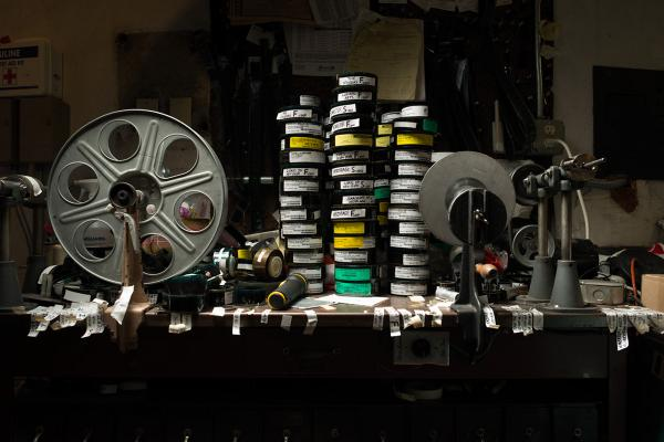 Editing table at the Avon Theater, Stamford, Conn. The table is currently stacked with trailers, or, as they're now known, previews.