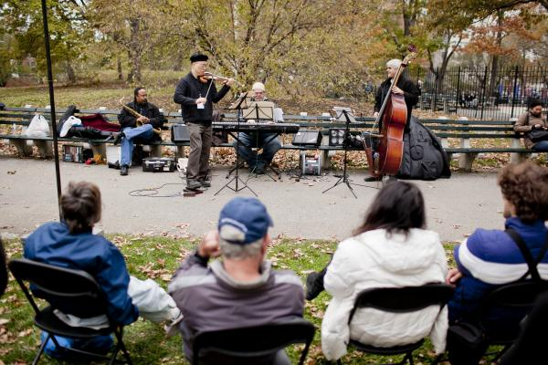 Violinist Jason Kao Hwang's quartet played near Seneca Village, on the west side near 85th Street.