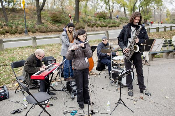 <p>Flutist Jamie Baum bundled up and led a band at the East 96th St. Playground.</p><p></p>