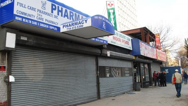 Pharmacy and medical services stores closed in Coney Island.