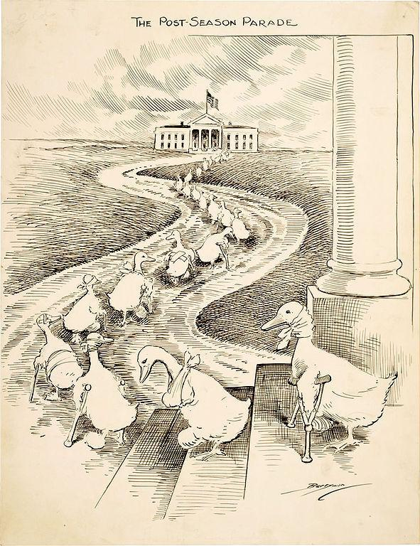 "This 1915 cartoon highlights the biennial departure of ""lame duck"" members of Congress after losing re-election. This illustration is meant to depict defeated Democrats heading to the White House in hopes of securing political appointments from President Woodrow Wilson."
