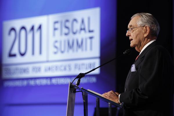Peter G. Peterson speaks at the Fiscal Summit in Washington, D.C., last year. The event was sponsored by the Peter G. Peterson Foundation.