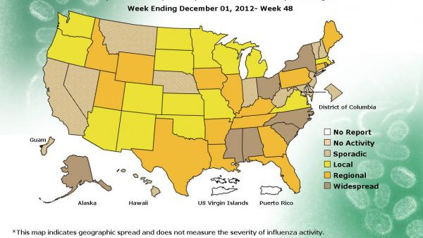 The number of states experiencing widespread flu doubled in the past week.
