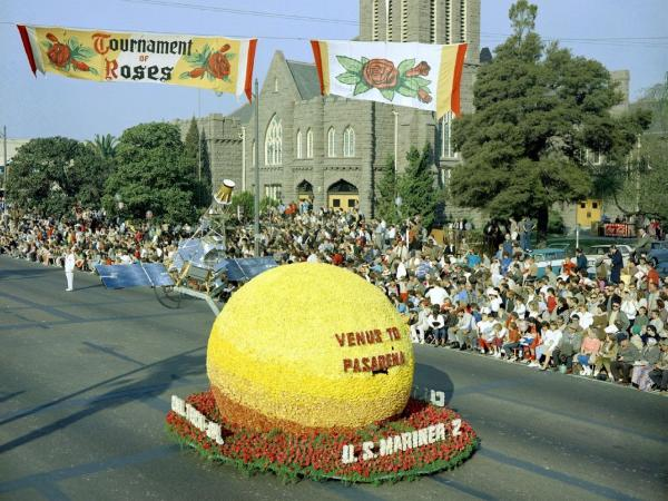 "A model of JPL's Mariner 2 spacecraft above a floral ""Venus"" moved down Colorado Boulevard in Pasadena, Calif., in the 1963 Tournament of Roses Parade on Jan. 1."