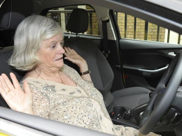 Former British politician Ann Widdecombe tests Ford's active park assist feature in the U.K. in July 2011.