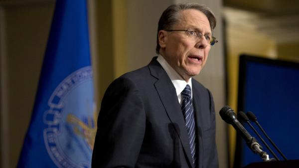 Wayne LaPierre, the National Rifle Association's executive vice president, speaks in response to the Connecticut school shootings, at a news conference in Washington on Friday.
