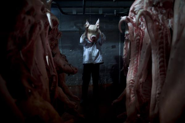 An employee of the Mizra pork factory poses with a pig's head in a refrigerated warehouse in Kibbutz Mizra, northern Israel. The million-strong Soviet immigrant community has increased customer demand for pork in the country, a nonkosher food rarely eaten by Israeli Jews.