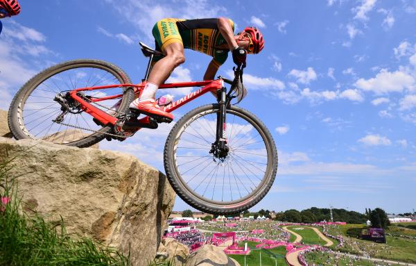 South African cyclist Burry Stander, seen here riding in the cross-country mountain bike race at the London Olympics, was killed during a training ride Thursday in South Africa.