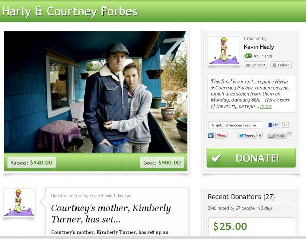 An online fundraising campaign collected more than $900 in just two days from people hoping to help Harly and Courtney Forbes replace their stolen tandem bicycle. The bike has since been returned.