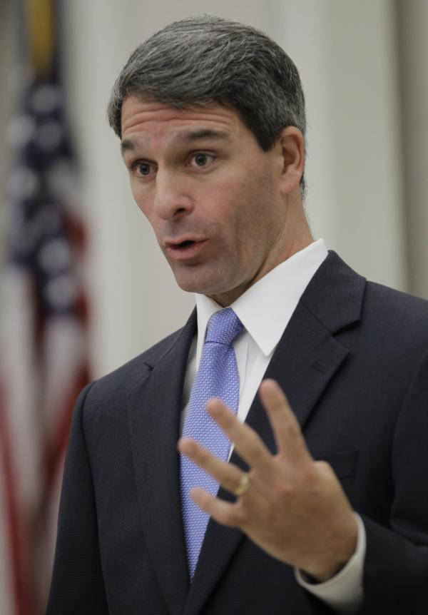 Virginia Attorney General Ken Cuccinelli talks about the Supreme Court decision on the national health care law on June 28, 2012 in Richmond, Va.