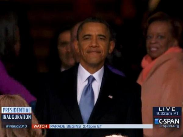 President Obama, as he paused to look back at the crowd before going into the Capitol.
