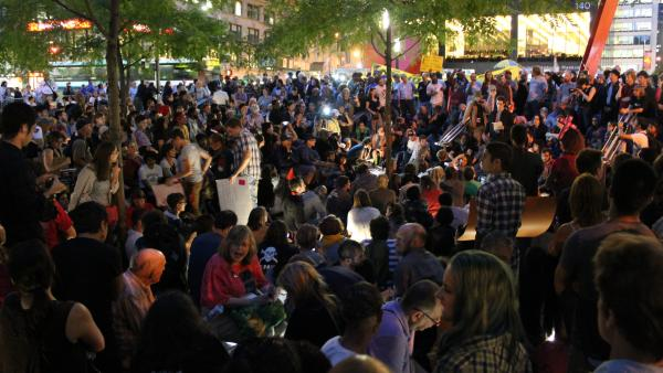 A scene from <em>99% — The Occupy Wall Street Collaborative Film</em>, a Sundance documentary that raised more than $23,000 on Kickstarter.