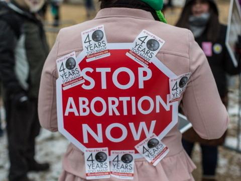 An anti-abortion activist at the March for Life rally Friday in Washington, D.C.
