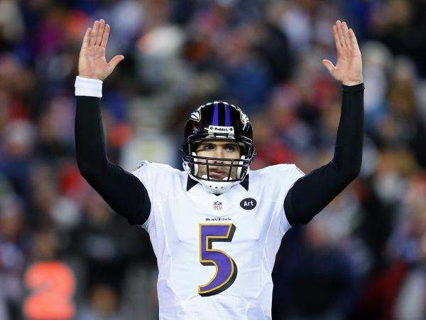 Quarterback Joe Flacco of the Baltimore Ravens celebrates after a touchdown against the New England Patriots during the 2013 AFC Championship on Jan. 20.