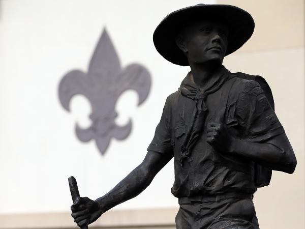 A statue outside the National Scouting Museum in Irving, Texas.