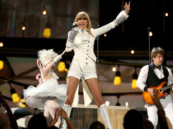 Taylor Swift gives the opening performance at the 55th Annual Grammy Awards Sunday in Los Angeles.